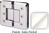 Satin Nickel Masis 783R Series Heavy Duty Beveled with Round Edges 180 Degree Glass-to-Glass Hinge - MA783AR_SN