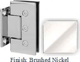 Brushed Nickel Masis 783 Series Heavy Duty with Square Edges Wall Mount Short Back Plate Hinge - MA783C_BN