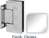 Chrome Masis 783 Series Heavy Duty with Square Edges Wall Mount Short Back Plate Hinge - MA783C_CR