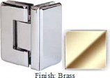 Brass Masis 783R Series Heavy Duty Beveled with Round Edges 90 Degree Glass-to-Glass Hinge - MA783DR_BR