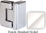 Brushed Nickel Masis 783R Series Heavy Duty Beveled with Round Edges 90 Degree Glass-to-Glass Hinge - MA783DR_BN