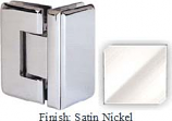 Satin Nickel Masis 783R Series Heavy Duty Beveled with Round Edges 90 Degree Glass-to-Glass Hinge - MA783DR_SN