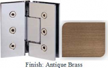 Antique Brass Masis 783 Series Heavy Duty with Square Edges 135 Degree Glass-To-Glass Hinge - MA783E_ABR