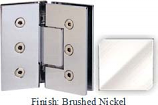 Brushed Nickel Masis 783 Series Heavy Duty with Square Edges 135 Degree Glass-To-Glass Hinge - MA783E_BN