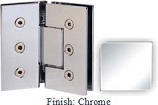 Chrome Masis 783 Series Heavy Duty with Square Edges 135 Degree Glass-To-Glass Hinge - MA783E_CR