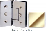 Satin Brass Masis 783 Series Heavy Duty with Square Edges 135 Degree Glass-To-Glass Hinge - MA783E_SBR