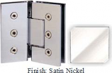 Satin Nickel Masis 783 Series Heavy Duty with Square Edges 135 Degree Glass-To-Glass Hinge - MA783E_SN