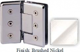 Brushed Nickel Masis 783R Series Heavy Duty Beveled with Round Edges 135 Degree Glass-to-Glass Hinge - MA783ER_BN