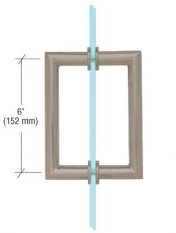 "CRL Brushed Nickel 6"" MT Series Round Tubing Mitered Corner Back-to-Back Pull Handle CRL MT6X6BN"