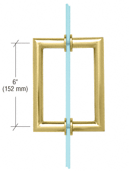 "CRL Polished Brass 6"" MT Series Round Tubing Mitered Corner Back-to-Back Pull Handle CRL MT6X6BR"