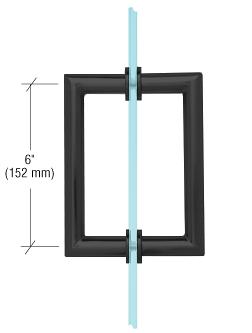 "CRL Matte Black 6"" MT Series Round Tubing Mitered Corner Back-to-Back Pull Handle CRL MT6X6MBL"