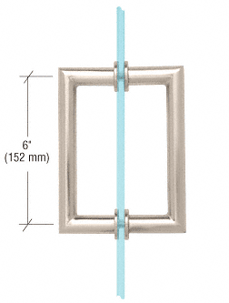 "CRL Polished Nickel 6"" MT Series Round Tubing Mitered Corner Back-to-Back Pull Handle CRL MT6X6PN"