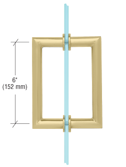 "CRL Satin Brass 6"" MT Series Round Tubing Mitered Corner Back-to-Back Pull Handle CRL MT6X6SB"