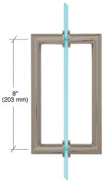 "CRL Brushed Nickel 8"" MT Series Round Tubing Mitered Corner Back-to-Back Pull Handle CRL MT8X8BN"