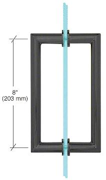 "CRL Matte Black 8"" MT Series Round Tubing Mitered Corner Back-to-Back Pull Handle CRL MT8X8MBL"