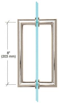 "CRL Polished Nickel 8"" MT Series Round Tubing Mitered Corner Back-to-Back Pull Handle CRL MT8X8PN"