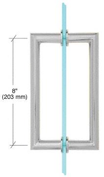 "CRL Satin Chrome 8"" MT Series Round Tubing Mitered Corner Back-to-Back Pull Handle CRL MT8X8SC"