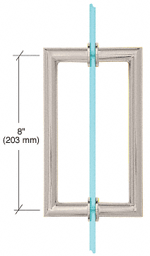 "CRL Satin Nickel 8"" MT Series Round Tubing Mitered Corner Back-to-Back Pull Handle CRL MT8X8SN"
