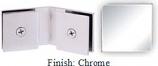 Chrome Mush 662C Series 135 Degree Glass-to-Glass Clip 2 inch x 2 inch  Each Side (Traditional Design Square) - MU662C_CR