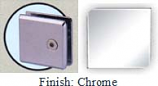 Chrome Mush 662DR-7 Series Wall Mount Transom Clip 2 inch x 2 inch (Contemporary Design Round Corners) - MU662DR-7_CR