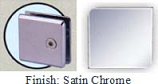 Satin Chrome Mush 662DR-7 Series Wall Mount Transom Clip 2 inch x 2 inch (Contemporary Design Round Corners) - MU662DR-7_SCR