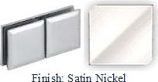 Satin Nickel Mush 662DR-8 Series Glass-to-Glass Rotate Transom Clip 2 inch x 4 inch (Contemporary Design Round Corners) - MU662DR-8_SN
