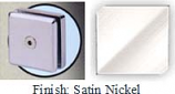 Satin Nickel Mush 662ER Series 2 inch Square Seam Clip 2 inch x 2 inch (Contemporary Design Round Corners) - MU662ER_SN