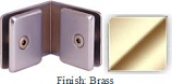 Brass Mush 662FR Series 90 Deg. Glass-to-Glass Clip 2 inch x 2 inch  Each Side (Contemporary Design Round) - MU662FR_BR