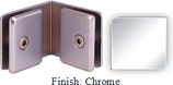 Chrome Mush 662FR Series 90 Deg. Glass-to-Glass Clip 2 inch x 2 inch  Each Side (Contemporary Design Round)- MU662FR_CR