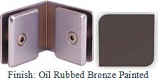 Oil Rubbed Bronze Painted Mush 662FR Series 90 Deg. Glass-to-Glass Clip 2 inch x 2 inch  Each Side (Contemporary Design Round) - MU662FR_ORB