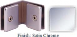 Satin Chrome Mush 662FR Series 90 Deg. Glass-to-Glass Clip 2 inch x 2 inch  Each Side (Contemporary Design Round) - MU662FR_SCR