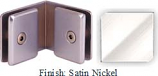 Satin Nickel Mush 662FR Series 90 Deg. Glass-to-Glass Clip 2 inch x 2 inch  Each Side (Contemporary Design Round) - MU662FR_SN