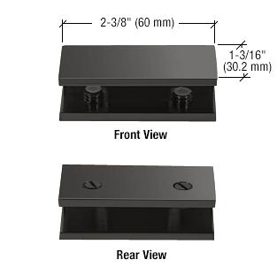 CRL Matte Black No-Drill Fixed Panel Glass Clamp CRL NDC4MBL