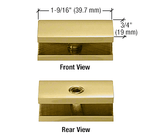 CRL Polished Brass No-Drill Fixed Panel Glass Clamp CRL NDC6BR