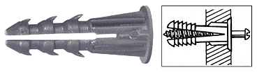 "CRL 1/4"" Plastic Screw Anchor with Shoulder - 100 Each CRL P1339C"