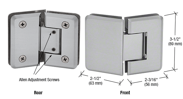 CRL Brushed Satin Chrome Pinnacle 345 Series Adjustable 135 Degree Glass-to-Glass Hinge CRL P1N345BSC