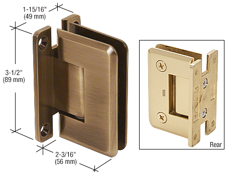 CRL Antique Brass Pinnacle 537 Series Wall Mount Full Back Plate Standard Hinge With 5 Degree Offset CRL P1N537ABR