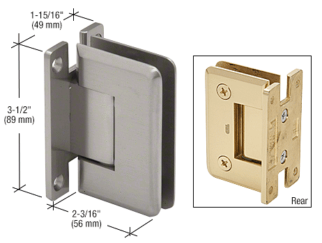 CRL Brushed Satin Chrome Pinnacle 537 Series Wall Mount Full Back Plate Standard Hinge With 5 Degree Offset CRL P1N537BSC