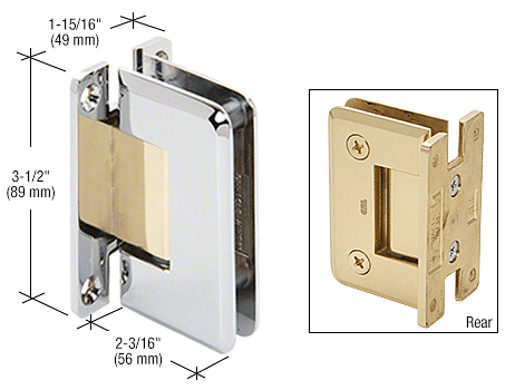 CRL Chrome with Brass Accents Pinnacle 537 Series Wall Mount Full Back Plate Standard Hinge with 5 Degree Offset CRL P1N537CBA