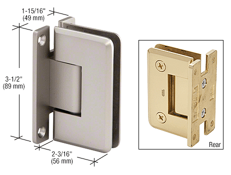 CRL Satin Chrome Pinnacle 537 Series Wall Mount Full Back Plate Standard Hinge With 5 Degree Offset CRL P1N537SC