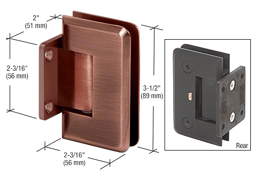 CRL Antique Brushed Copper Pinnacle Series 5 Degree Wall Mount Short Back Plate Hinge CRL P1N574ABC0