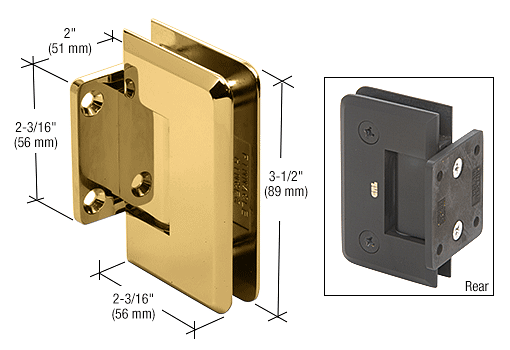 CRL Brass Pinnacle Series 5 Degree Wall Mount Short Back Plate Hinge CRL P1N574BR