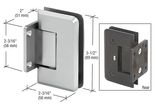 CRL Satin Chrome Pinnacle Series 5 Degree Wall Mount Short Back Plate Hinge CRL P1N574SC