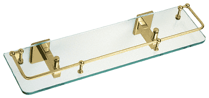 "CRL Brass Pinnacle Series 18"" Glass Shelf CRL P1N812BR"