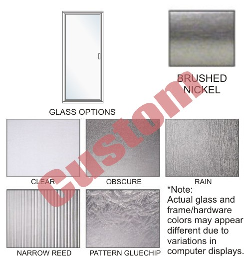 P3000-L Series Standard Duty Framed Swing-out Shower Doors Size 20 to 36 inch wide x Up to 80 inch high, Hinged on Left