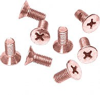 Polished Copper Phillips 6 mm x 12 mm Cover Plate Flat Head Screws - CRL P612PCO Pack of 8