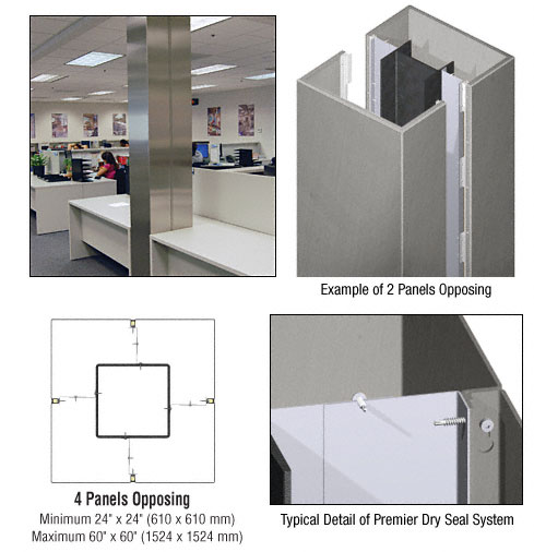 CRL Custom Brushed Stainless Premier Series Square Column Covers Four Panels Opposing - PCS40CBS