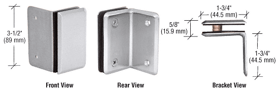 CRL Satin Chrome Petite Series Wall Mount Bracket CRL PE90SSC