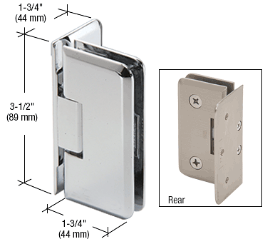 CRL Polished Chrome Petite 044 Series Wall Mount Offset Back Plate Hinge CRL PET044CH