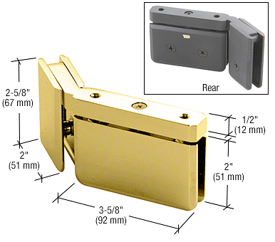 CRL Polished Brass LH 135 Degree Prima Hinge with U-Clamp CRL PPH0735LBR